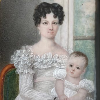 Regency miniature portrait of a mother and child